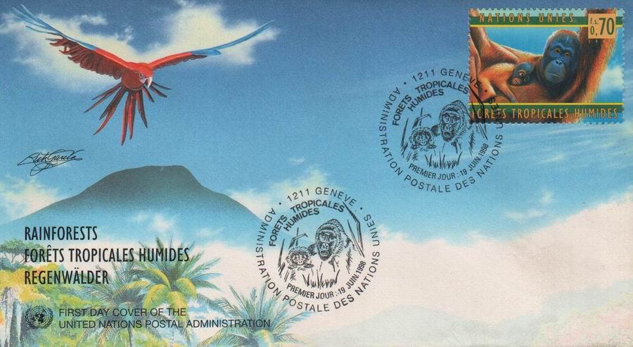 United Nations 1998 Fdc Rainforest Chimpanzee