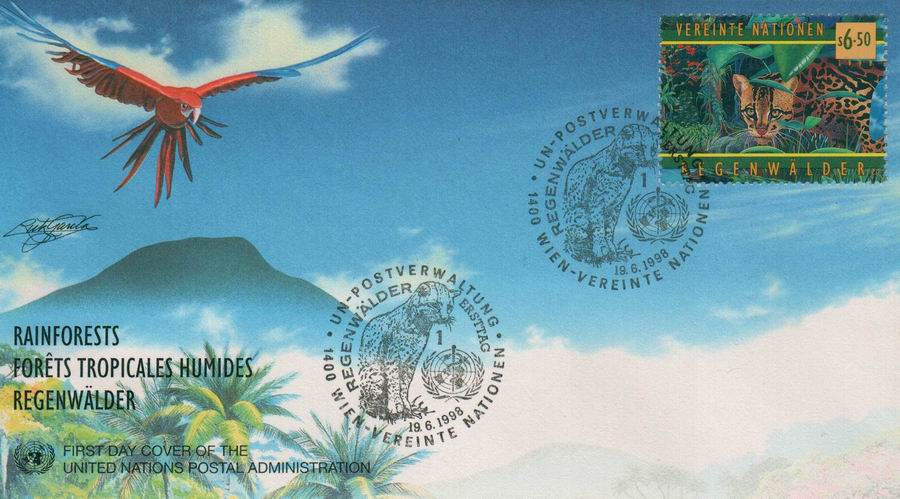 United Nations 1998 Fdc Rainforest Leopard