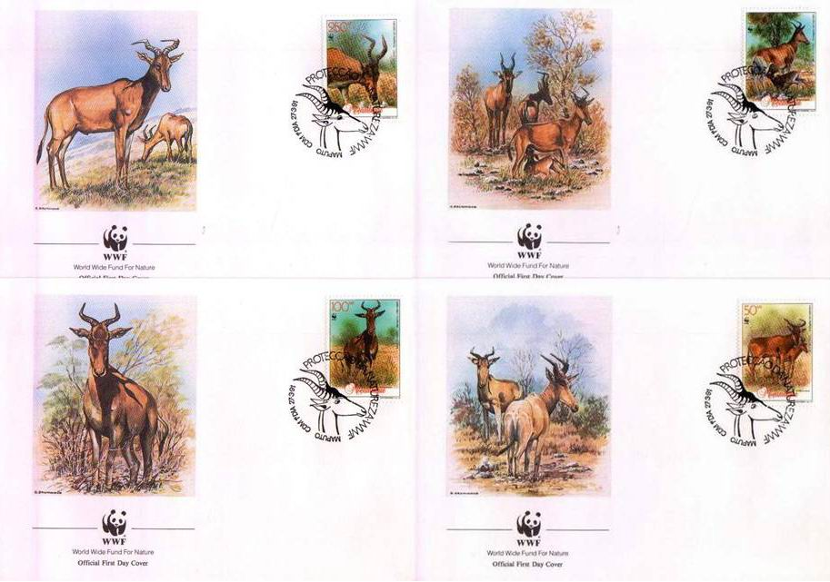 WWF Mozambique 1991 Beautiful Fdc Hartebeest