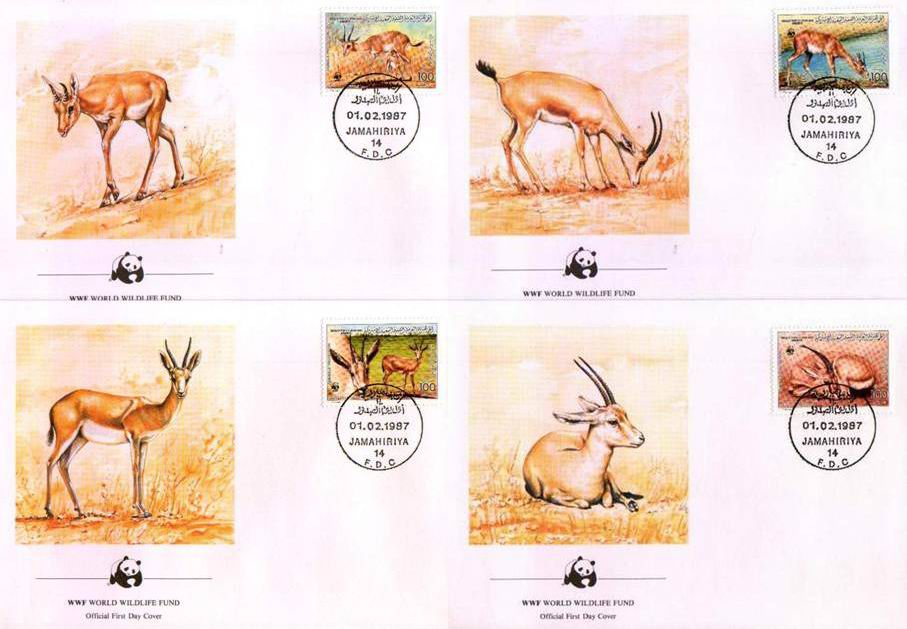 WWF Libya 1987 Beautiful Fdc Chinkara Gazelle