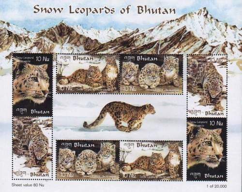 Bhutan 2002 Beautiful Stamps Sheet Snow Leopard