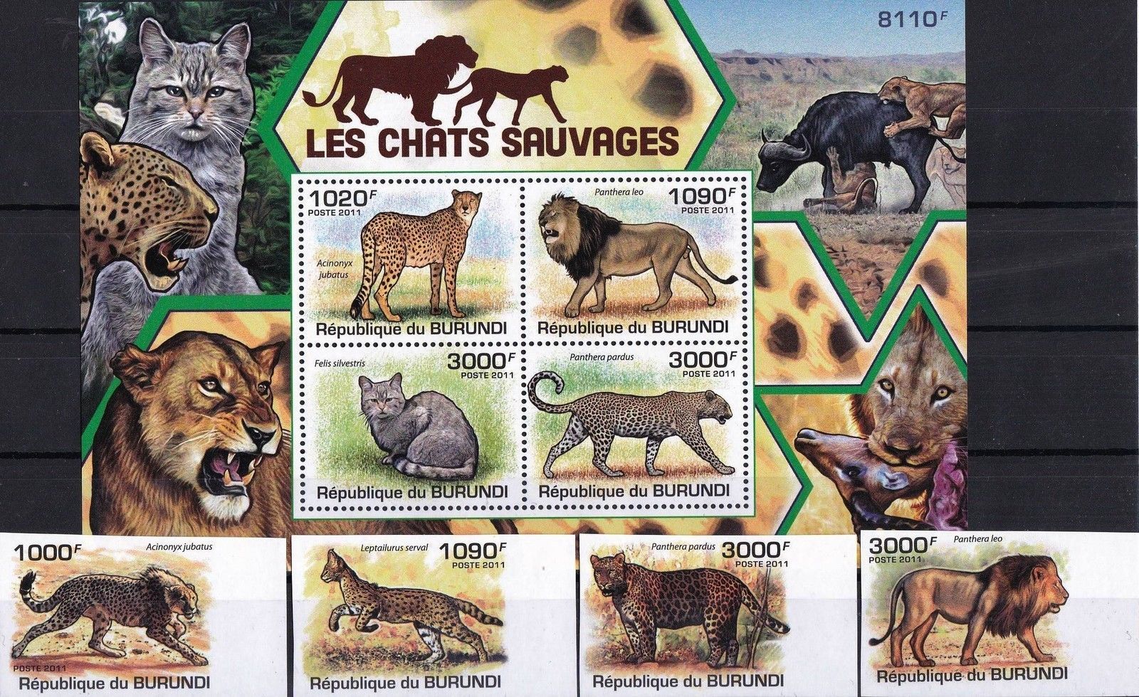 Burundi 2011 S/Sheet & Stamps Imperf Wild Cats