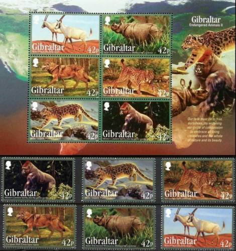 Gibraltar 2012 S/Sheet & Stamps Endangered Animals Snow Leopard