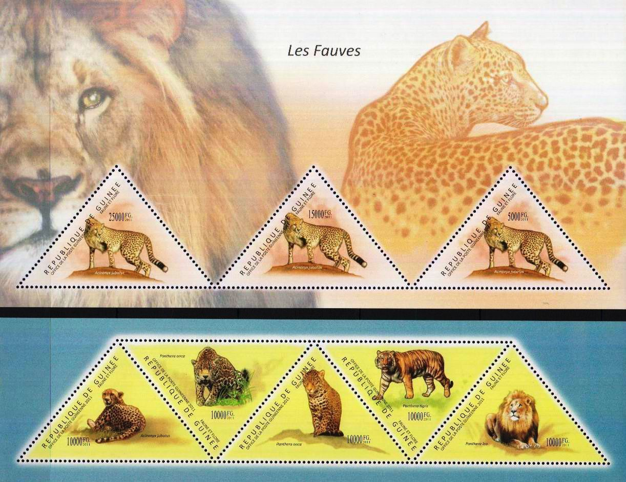 Guinea 2011 Stamps Triangular Cheetah Lions MNH