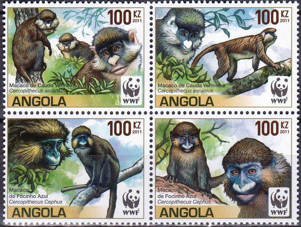 WWF Angola 2011 Stamps Endangered Species Moustached Monkey MNH