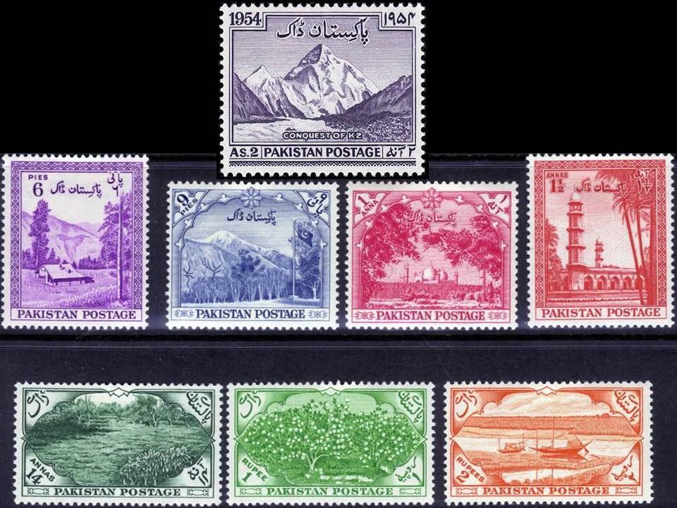 Pakistan Stamps 1954 Year Pack 7th Anny Independence & K2
