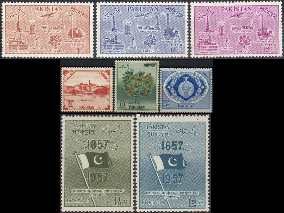 Pakistan Stamps 1957 Year Pack Independence Day Flag