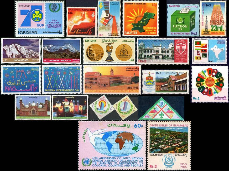 Pakistan Stamps 1985 Year Pack Girl Guides Mountains Hockey Map