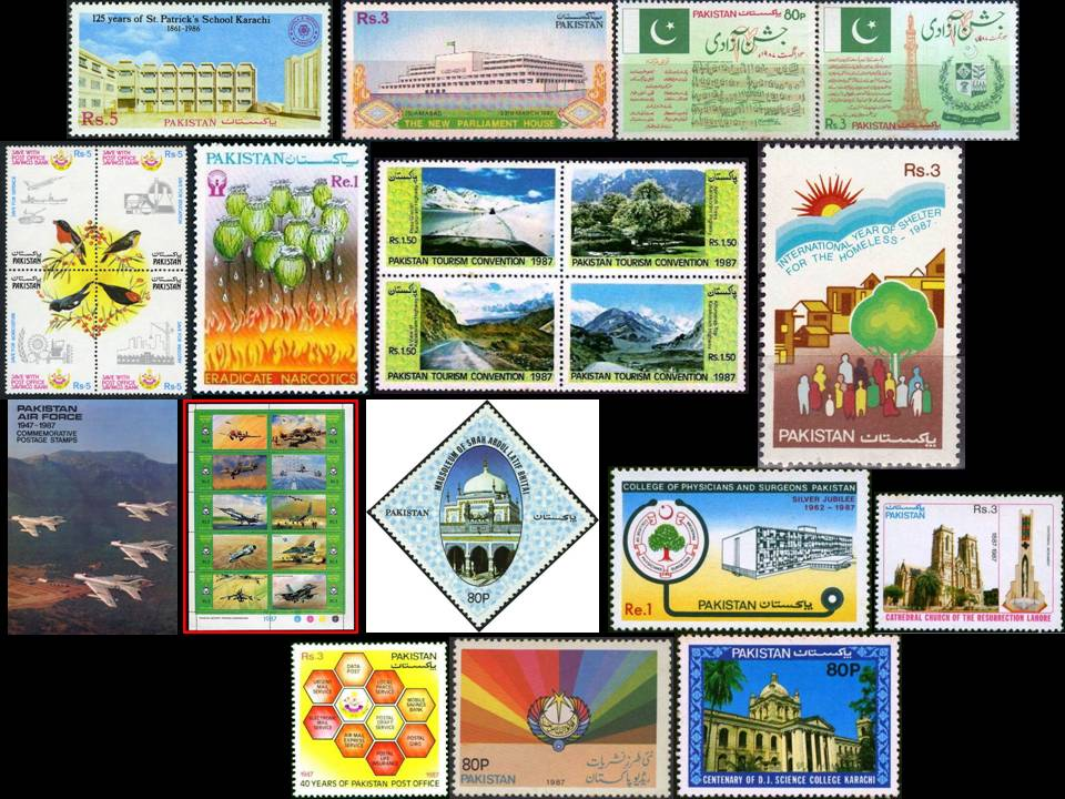 Pakistan Stamps 1987 Year Pack Air Force F 104 F 16 Honey Bees
