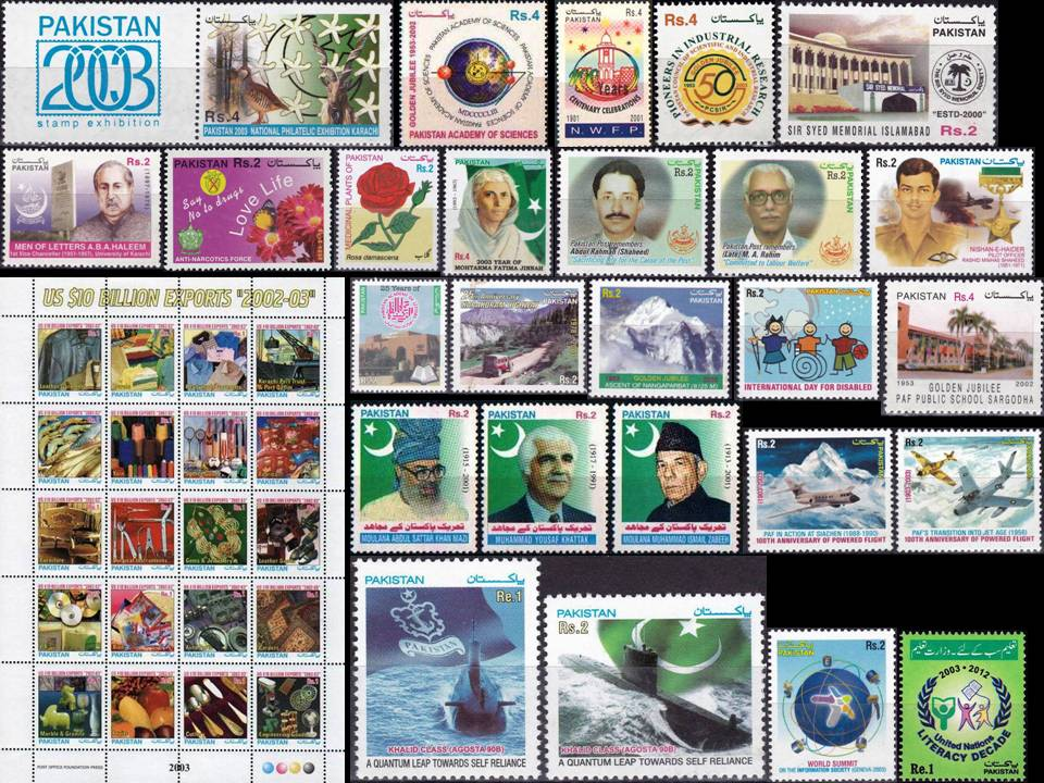 Pakistan Stamps 2003 Year Pack Cricket Football Badminton Tennis
