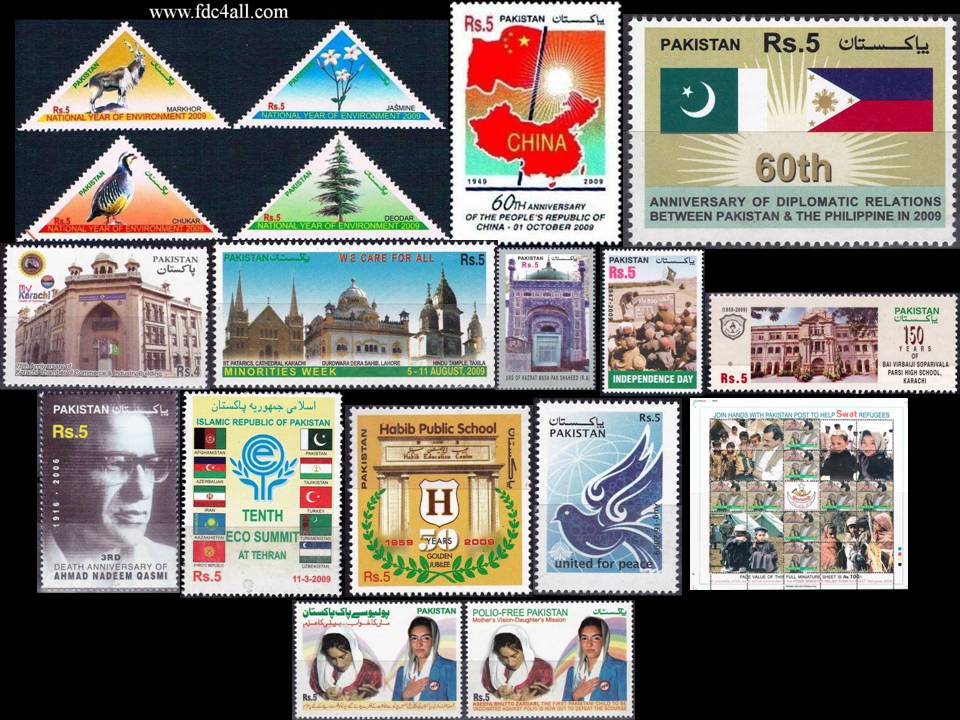 Pakistan Stamps 2009 Year Pack Swat Refugees Birds Markhor Polio
