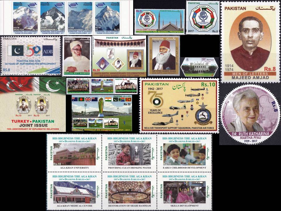 Pakistan Stamps 2017 Year Pack Aga Khan Dr Ruth ICC Cricket MNH