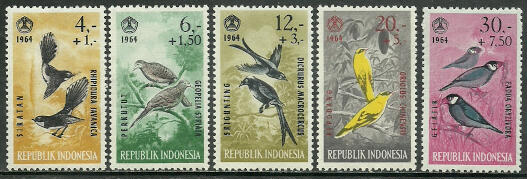 Indonesia 1964 Stamps Birds MNH