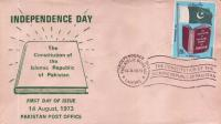 Pakistan Fdc 1973 Independence Day & Constitution Flag