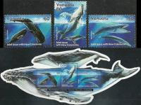 Vanuatu 2001 S/Sheet & Stamps Odd Shape Cut Mother& Baby Whales