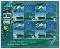 India 2008 Stamps Sheet Coast Guard Helicopter Ship Aircraft